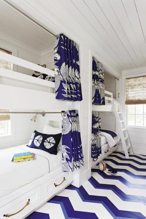 Shared Cottage Kids Bedroom Features Side By Built In Bunk Beds With Bottom Fitted Drawers Adorned Rope Pulls And Small