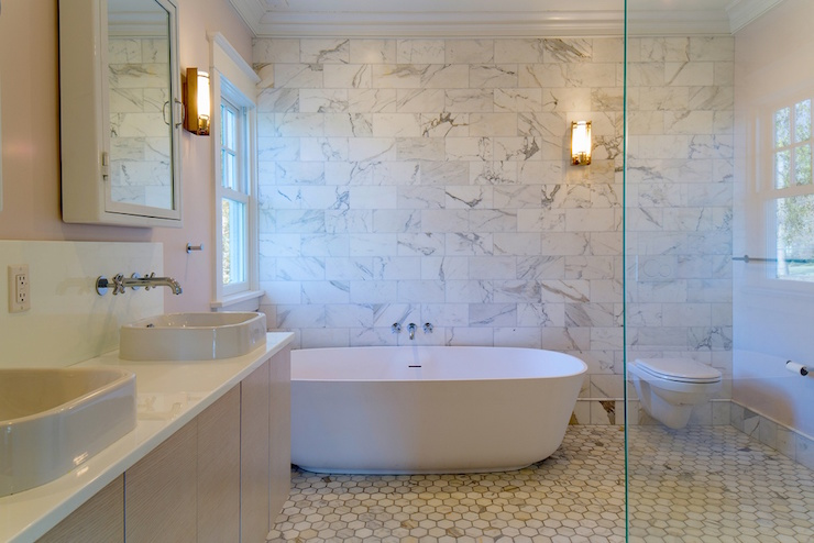 Bathroom With Marble Accent Wall