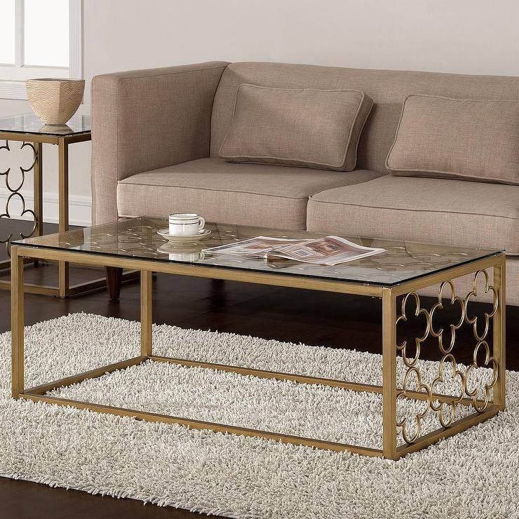 goldtone metal and glass coffee table