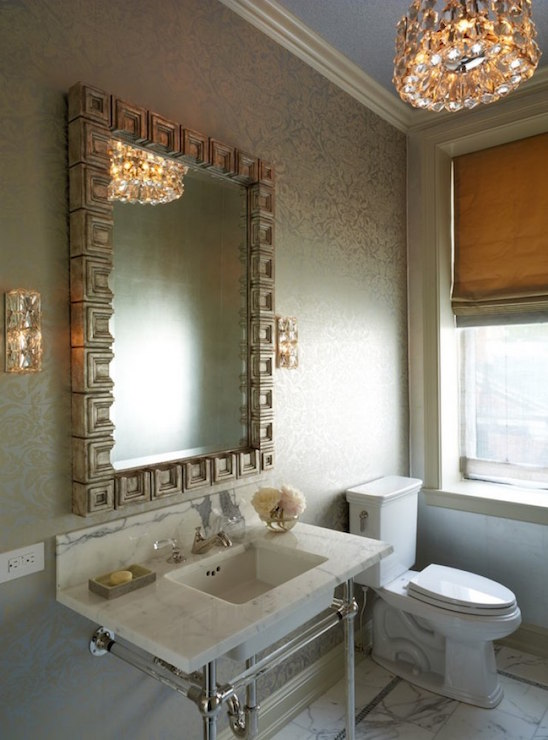 Greek key vanity mirror transitional bathroom for Silver accent wallpaper