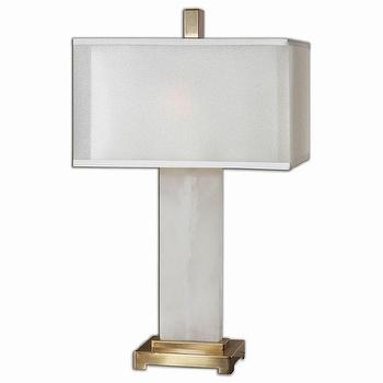 Athanas 2 Light White Alabaster Table Lamp
