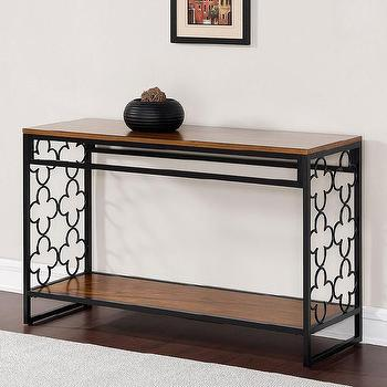 Quatrefoil Black and Pecan-top Sofa Table