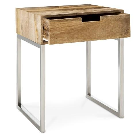 Threshold Wood And Brass Single Drawer Square Accent Table