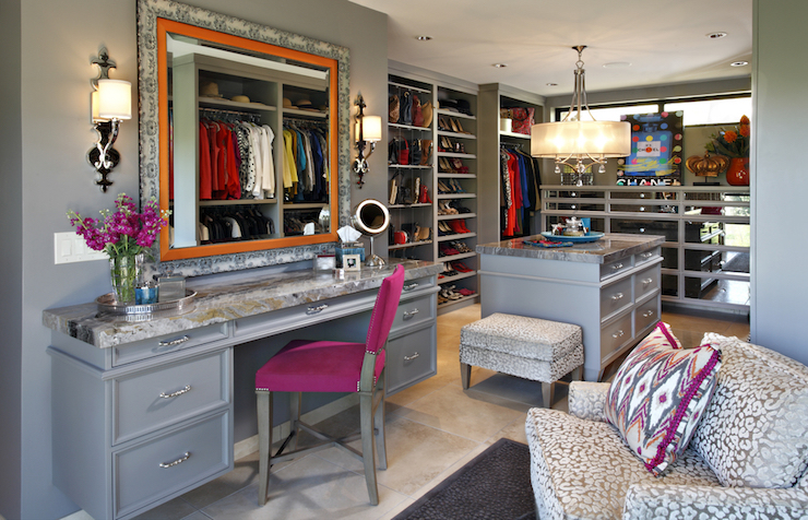 Marvelous Contemporary Gray Closet Features Walls Painted Gray Lined With A Built In  Gray Makeup Vanity Topped With Dark Natural Stone Counter Paired With A Hot  Pink ...