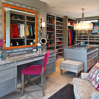 Gray Walk In Closet Design