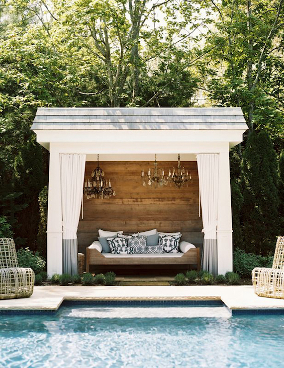 Pool cabana with chandeliers transitional pool for Outdoor pool cabana