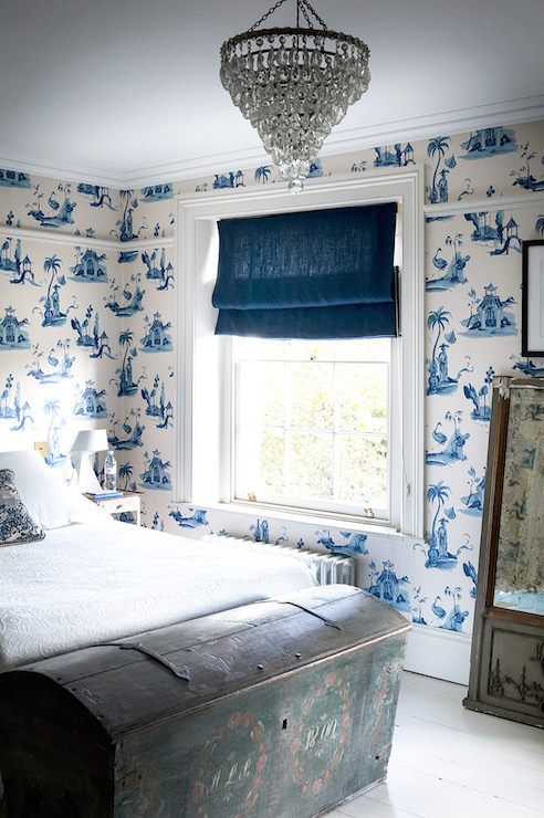 White and blue french country bedrooms design ideas for Blue and white bedroom wallpaper