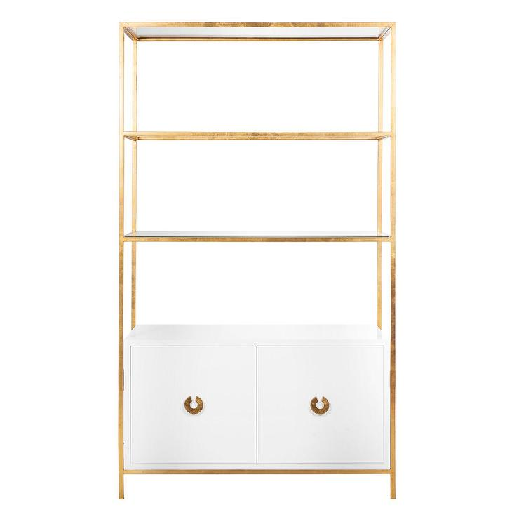 Away Wyeth White Lacquer and Gold Leaf Bar Cabinet