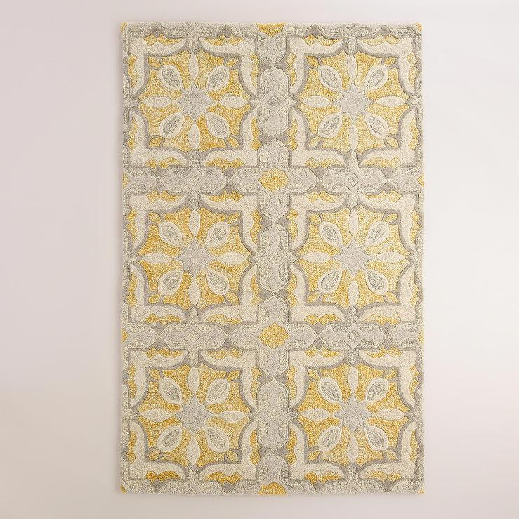 Soleil Tile Tufted Yellow And Gray Wool Area Rug