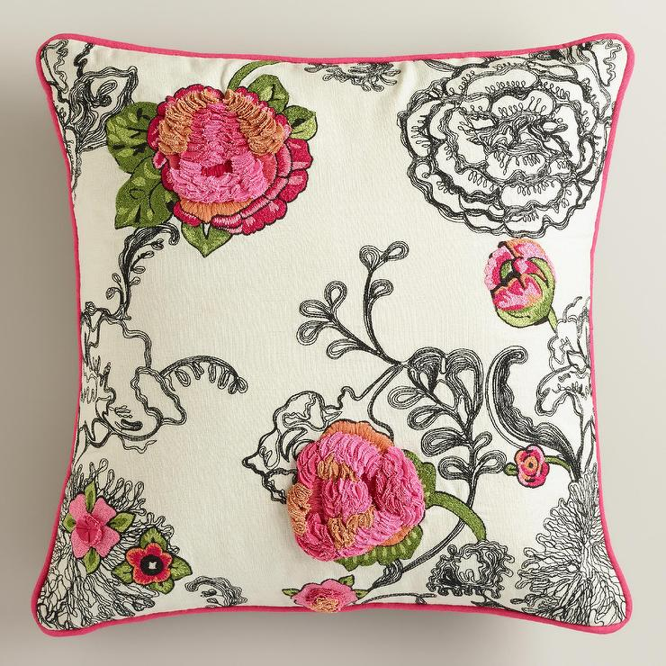 Floral Embroidered Black And Pink Throw Pillow