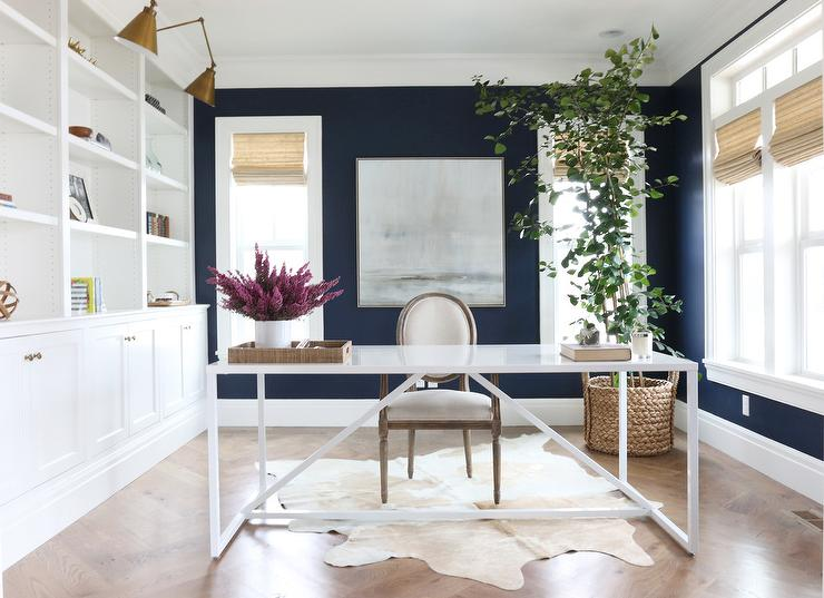 Office With Navy Blue Walls Transitional Den Library