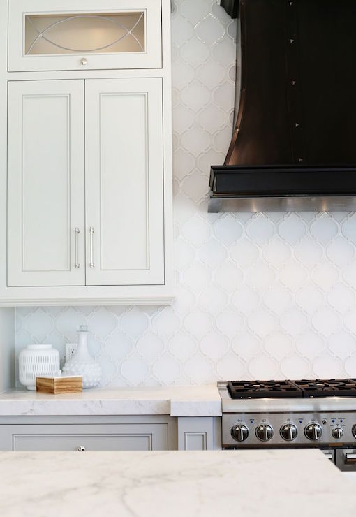 White arabesque tile backsplash transitional kitchen for Arabesque tile backsplash