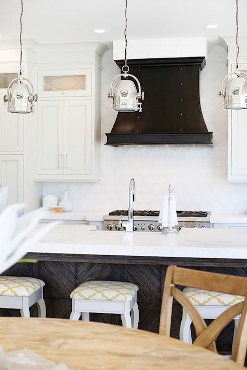 White Arabesque Tile Backsplash Transitional Kitchen