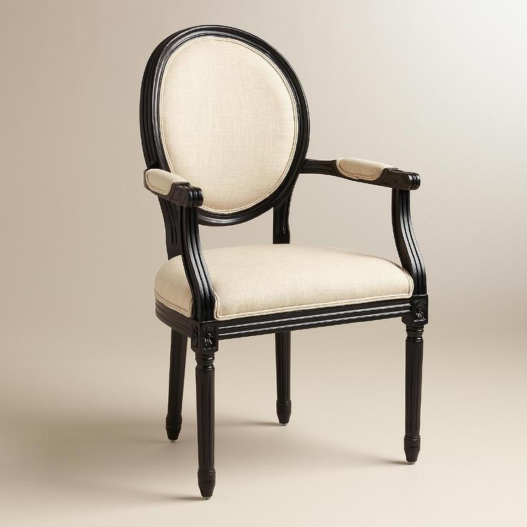 a87adc418bbcb Natural Linen Paige Round Back Black Frame Ivory Armchair