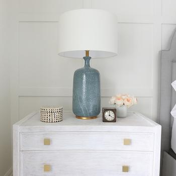 Aerin Culloden Blue Lagoon Table Lamp, Transitional, Bedroom, Benjamin Moore Simply White