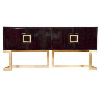 Worlds Away Braxton Rosewood and Gold Leaf Media Console