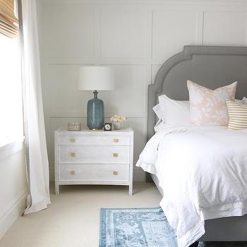 Board and Batten Accent Wall, Transitional, Bedroom, Benjamin Moore Simply White