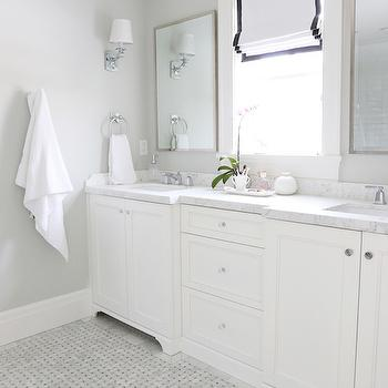 Gray Basketweave Floor Tile, Transitional, Bathroom, Benjamin Moore Moonshine