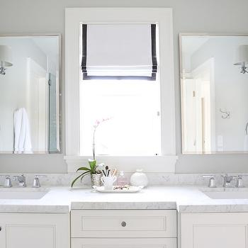 Carrara Marble Countertops, Transitional, Bathroom, Benjamin Moore Moonshine