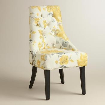 Yellow Floral Tufted Lydia Dining Chair