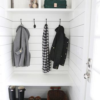 Floating Mudroom Bench, Transitional, Laundry Room, Benjamin Moore Simply White