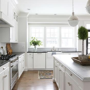 Honed Carrera Marble Countertops, Transitional, Kitchen, Benjamin Moore Classic Gray