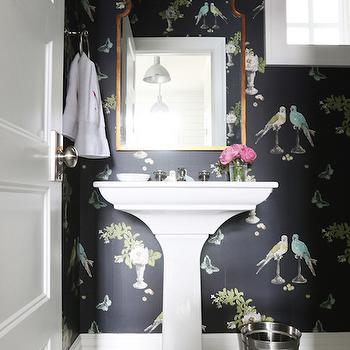 Nina Campbell Perroquet Wallpaper, Transitional, Bathroom