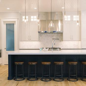 Mismatched Island Pendants, Transitional, Kitchen, Sherwin Williams Repose Gray