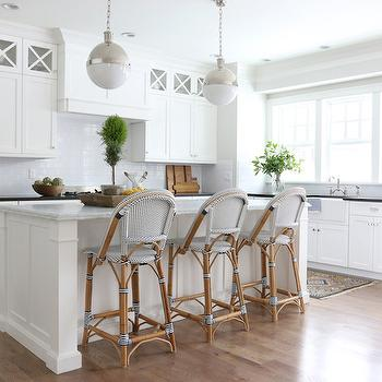 Serena and Lily Riviera Stools, Transitional, Kitchen, Benjamin Moore Simply White