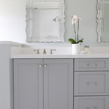 Gray Dual Bathroom Vanity, Transitional, Bathroom, Benjamin Moore Coventry Gray