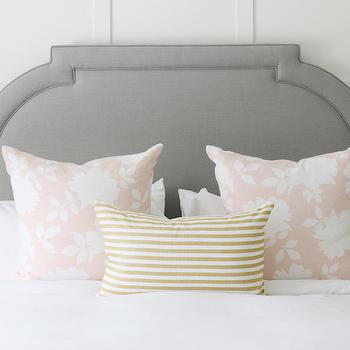 White and Gold Stripe Pillow, Transitional, Bedroom, Benjamin Moore Simply White