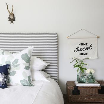 White and Gray Stripe Headboard, Transitional, Boy's Room, Benjamin Moore Classic Gray
