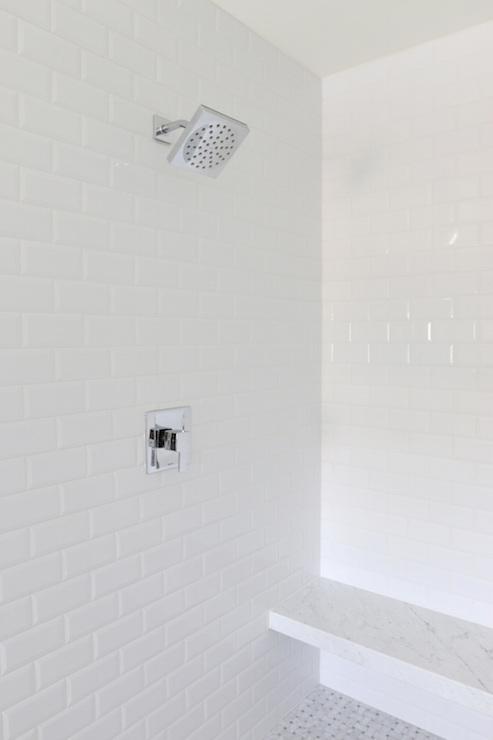 White Beveled Shower Surround Tiles Design Ideas