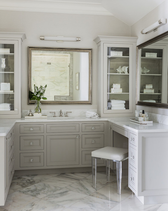 Lucite vanity stool transitional bathroom for L shaped master bathroom layout
