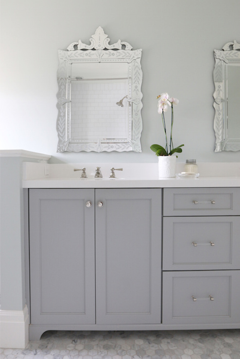 Gray Dual Bathroom Vanity Transitional Bathroom Benjamin Moore Coventry Gray
