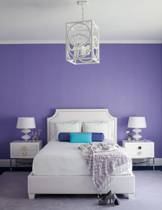 White and purple bedroom contemporary bedroom for Purple and white bedroom designs