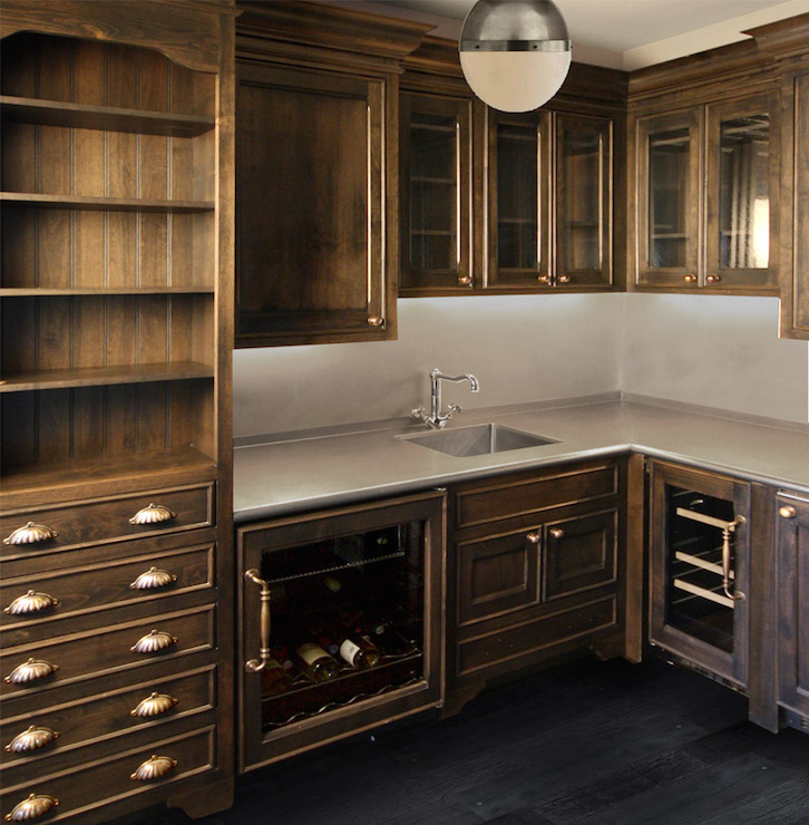 Butlers Pantry With Dark Cabinets Transitional Kitchen