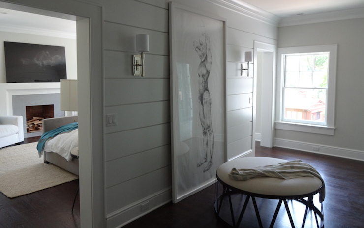 Shiplap closet walls transitional closet - Wall wardrobe with bathroom behind pictures ...