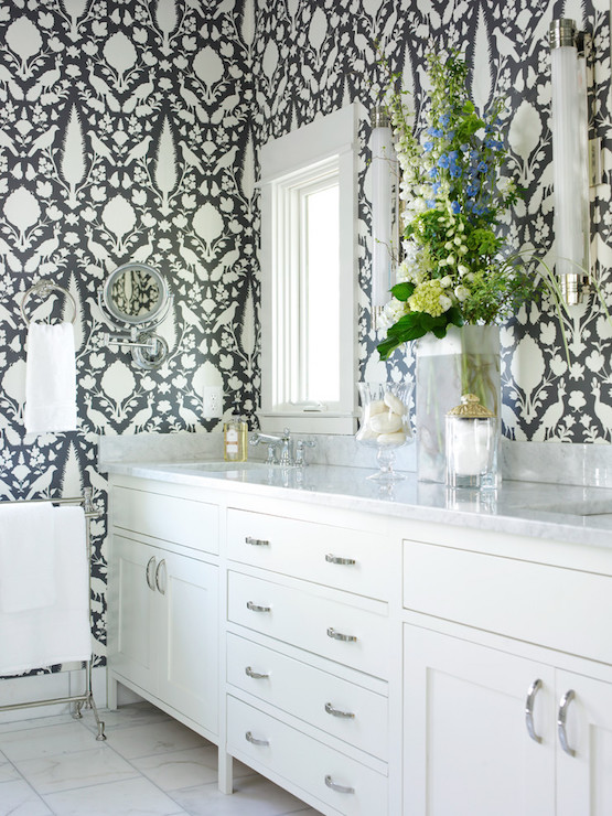 Gray master bathroom wallpaper transitional bathroom for Gray bathroom wallpaper