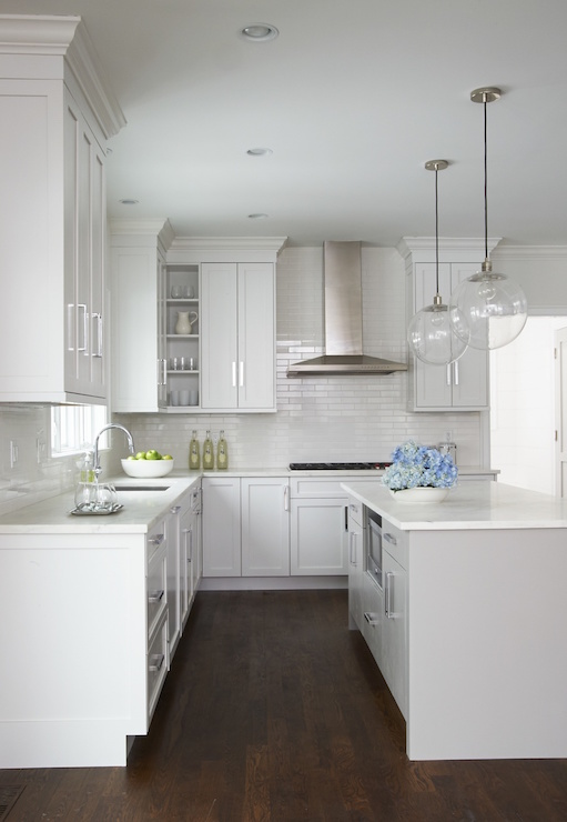 Light Gray Center Island Transitional Kitchen