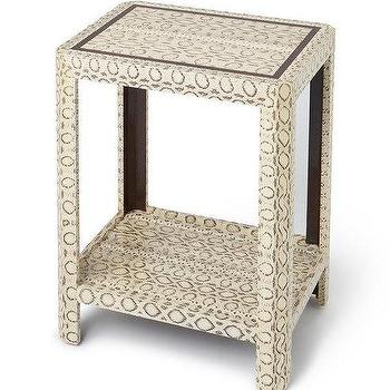 Threshold Gray Faux Snake Skin Accent Table