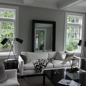 Mirror Behind Sofa, Transitional, Living Room