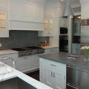 Kitchen Island with Stacked Dishwashers, Transitional, Kitchen