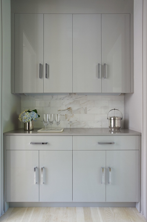 Gray Flat Front Cabinets Modern Kitchen