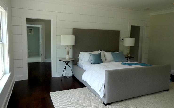 Gray Velvet Bed With Footboard Transitional Bedroom
