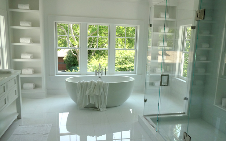 Gorgeous Master Bathroom Features A Modern Egg Shape Tub