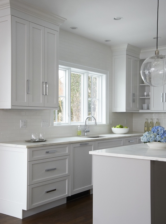 Gray Island In White Kitchen Transitional Kitchen