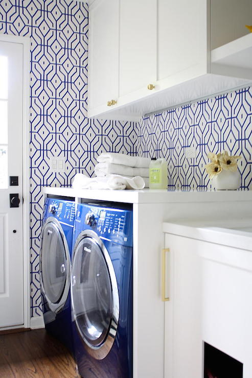 Teal Wallpaper Contemporary Laundry Room K Mathiesen