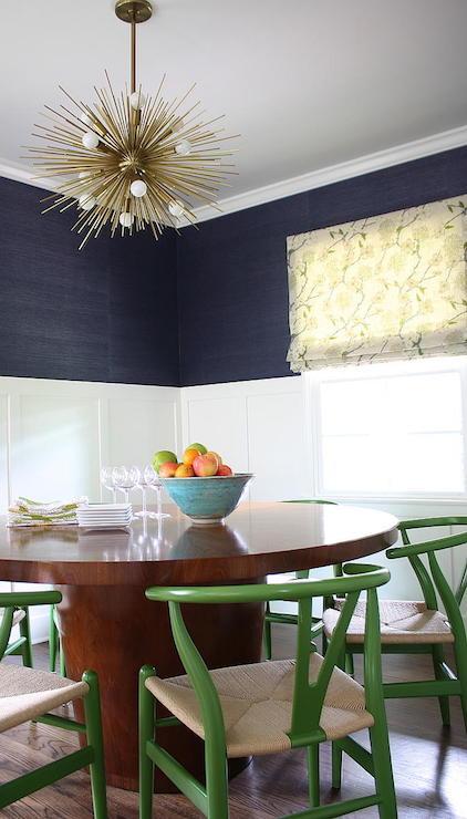 Navy Grasscloth Contemporary Dining Room