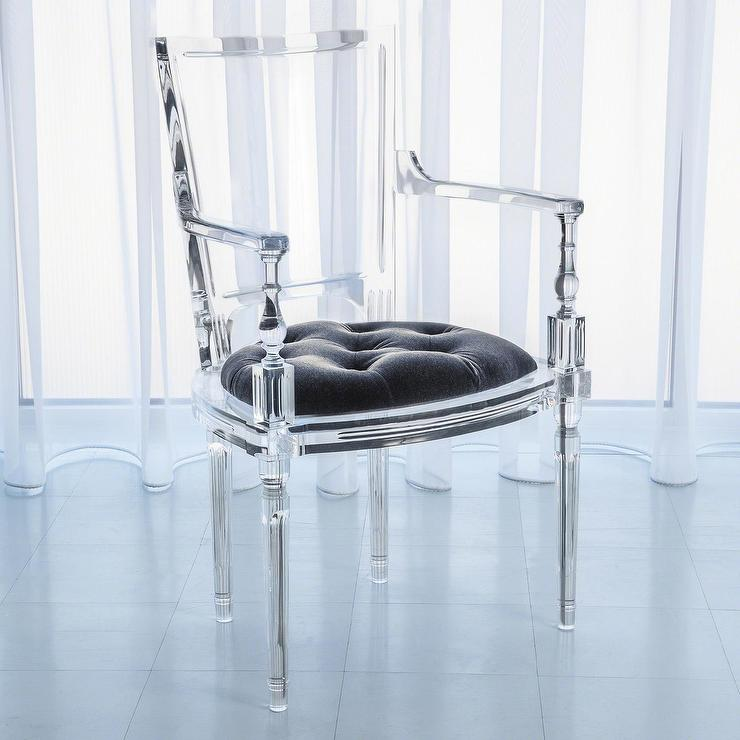 Global Views Acrylic Chair: Global Views Marilyn Acrylic Pewter Gray Arm Chair